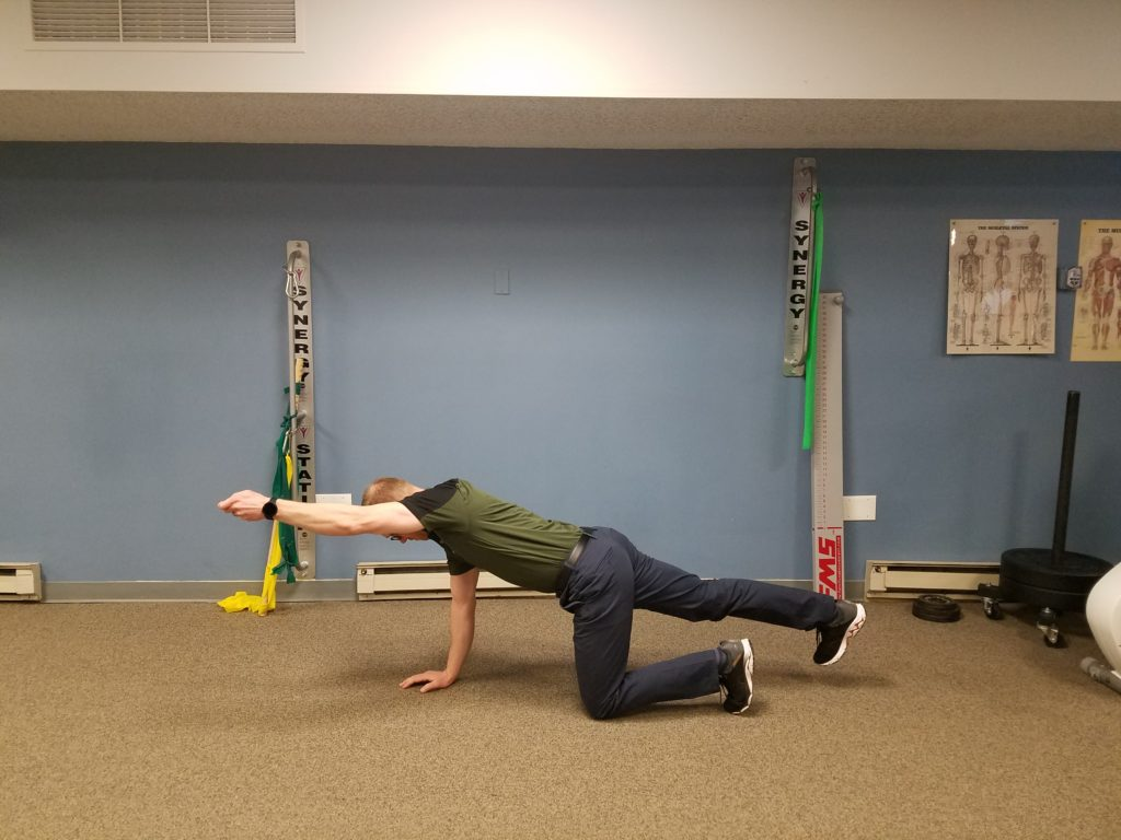 Bird-dog pose: Starting on all fours, elevate the opposite arm and leg. Be sure to keep your abs engaged and your hip parallel to the floor. Perform 2 sets, 10 reps each side.