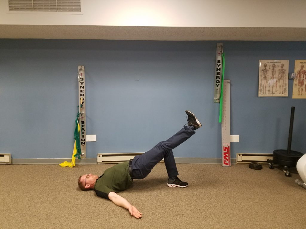 Single-Leg Bridge: This can be performed in the same way as a bridge. Or, this can be performed in a march pattern while holding your hips up. Perform 2 sets marching, 10 reps each side.