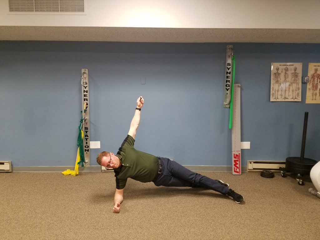 Side Plank: Begin lying on either side with your weight supported on your elbows and feet. Top leg should be in front of bottom foot. You  can modify by being on your knees. Perform 2 sets, 15sec - 2min hold.