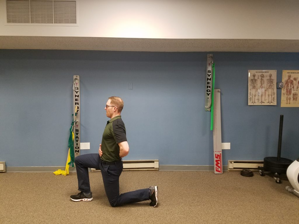 Lunge: This can be performed 2 ways. First from the tall kneeling position, stepping forard immediately after a backward lean. Or Standing with your feet shoulder width apart and stepping forward allowing the back leg to bend. Perform 2 sets 5-10 reps each side.